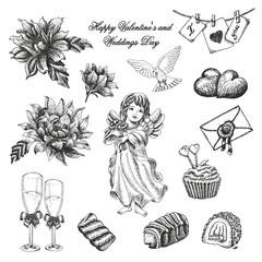 Vector set of weddings day collection