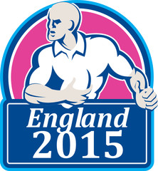 Rugby Player Running Ball England 2015 Retro
