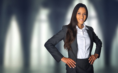 Successful businesswoman in a corporate building