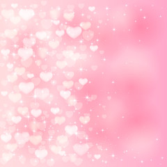 Blurry hearts on pink background