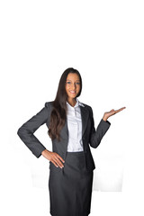 Businesswoman holding out her empty palm