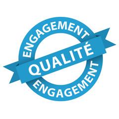 "Tampon Publicitaire ""ENGAGEMENT QUALITE"" (icône marketing)"