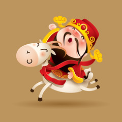 Chinese God of Wealth and Goat
