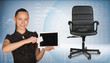 Businesswoman holding tablet PC and business card. Office chair