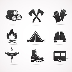 Camping vector icon set.