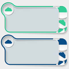 set of two abstract text boxes and cloud
