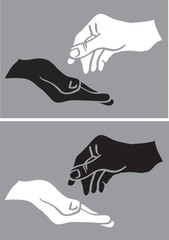 Give and Take White and Black Hand Vector Illustration