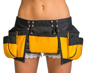 Woman wearing tool belt, close up
