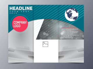 blue green modern brochure design template vector tri-fold