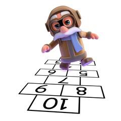 3d Pilot playing hopscotch