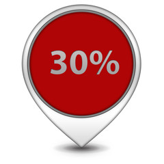 Thirty percent pointer icon on white background