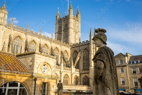 Foto op Canvas Londen Roman Baths & Abbey in Bath Spa city, England.