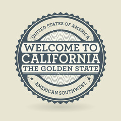 Grunge rubber stamp with text Welcome to California, USA