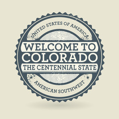 Grunge rubber stamp with text Welcome to Colorado, USA