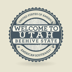 Grunge rubber stamp with text Welcome to Utah, USA