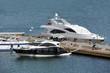 Motor yacht over harbor pier, Odessa, Ukraine