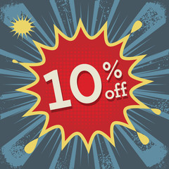 Explosion with text 10 percent off, vector
