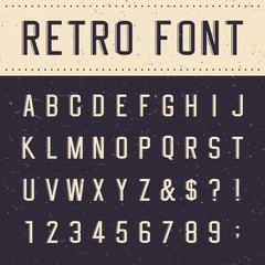 Retro alphabet vector font. Scratched background.