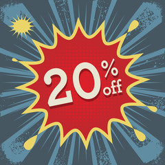 Comic explosion with text 20 percent off, vector