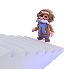 3d Pilot looks up the staircase