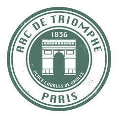 Stamp with text Arch of Triumph (in French), Paris, vector