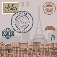 Paris stamps set, vector