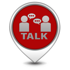 Talk pointer icon on white background