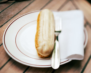 Eclair served in french cafe - dessert food