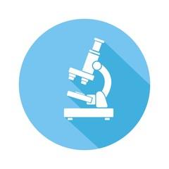 Icono microscopio azul botón sombra