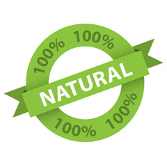 """100% NATURAL"" stamp (vector marketing organic product)"