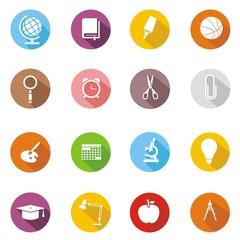16 Iconos sobre educación I botón sombra