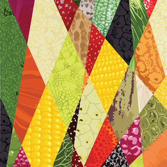 pattern with different textures of vegetables, fruit, berries