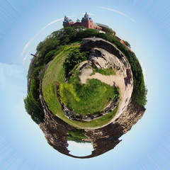 Planet with church and ruins