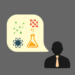 Flat vector icons man chemical experiments eps