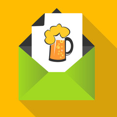 Beer concept with mug on a letter background
