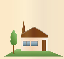 One-story house and a green tree on a light background.