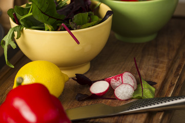 Bowl of fresh herbs and salad ingredients