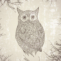 Abstract Vintage Owl