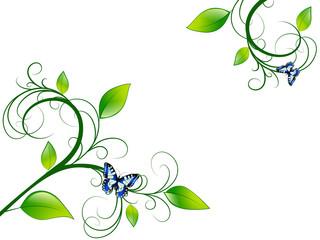 Green Floral Leaf Frame