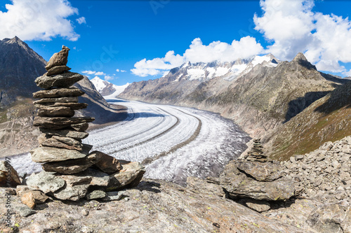 View of the Aletsch glacier on Mountains - 76555097