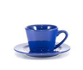 Blue cup of coffee front view