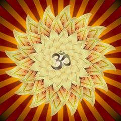 illustration: OM symbol, golden lotus