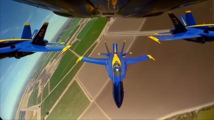 three yellow-blue airplane