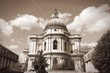 Cathedral in London. Sepia tone.