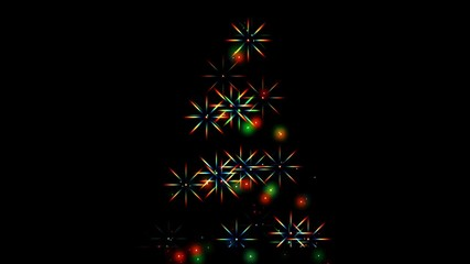 Flashing lights in shape of Christmas Tree (black background).