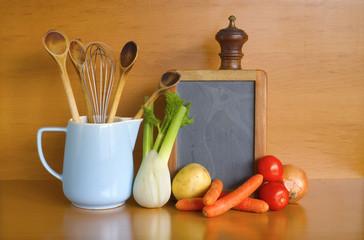kitchen utensils,vegetables,blackboard for recipes, free copy sp