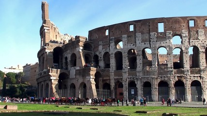 Crowd of tourists at Colosseum in Rome