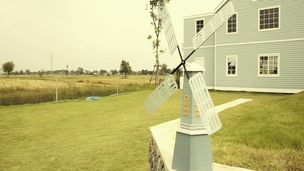 Decorative windmill in the barn