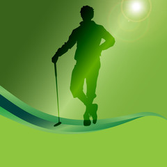 Vector silhouette of a man playing golf.