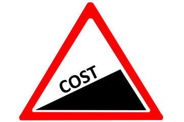 Cost increase warn roadsign isolated on a white background